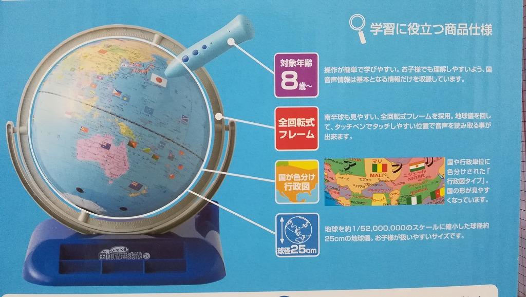 しゃべる国旗つき地球儀 化粧箱 説明 2