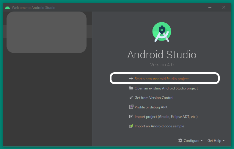 ゼロから始めるプログラミング Android スタート画面
