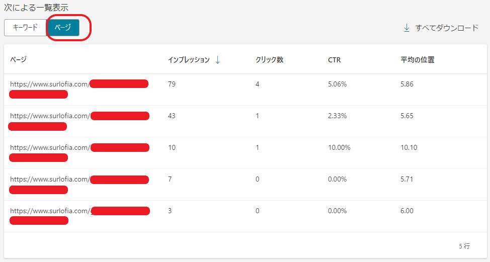 Microsoft Bing Webmaster Tools 検索パフォーマンス ページ