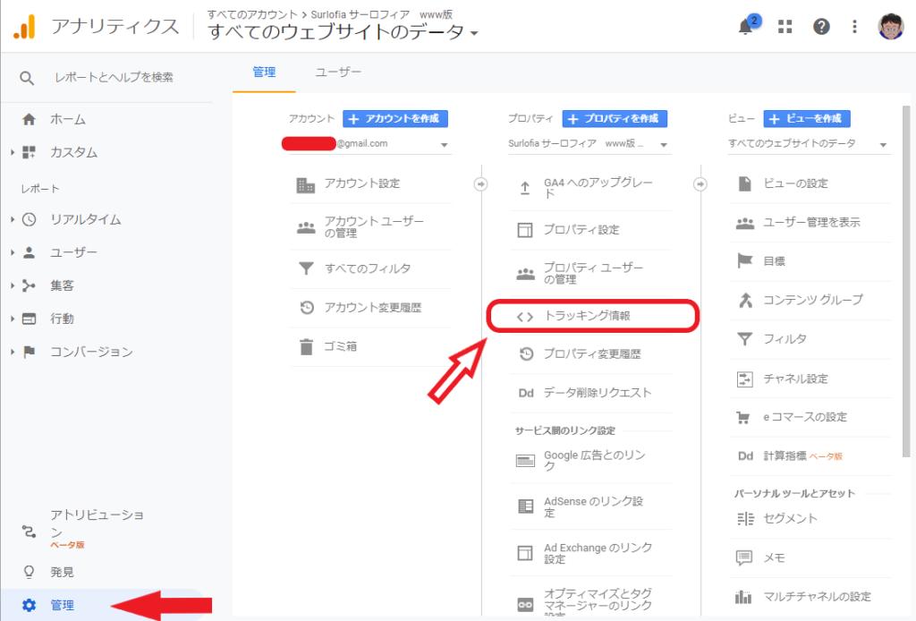 Google アナリティクス トラッキング情報