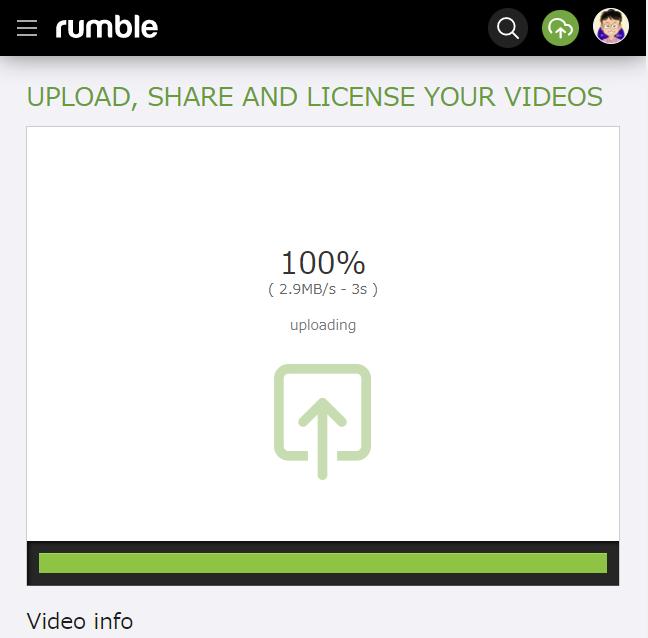 Rumble 動画をアップする方法 その2
