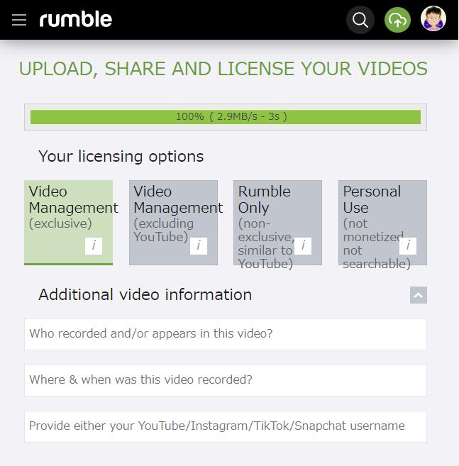 Rumble 動画をアップする方法 その6 動画の独占管理を Rumble に依頼する