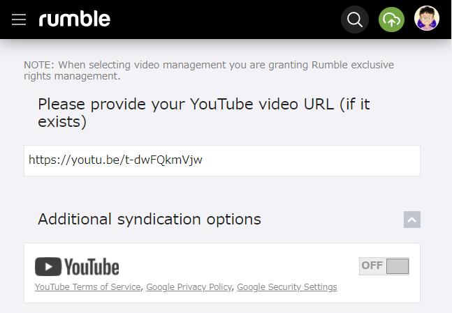 Rumble 動画をアップする方法 その7 追加同時配信選択は、OFF