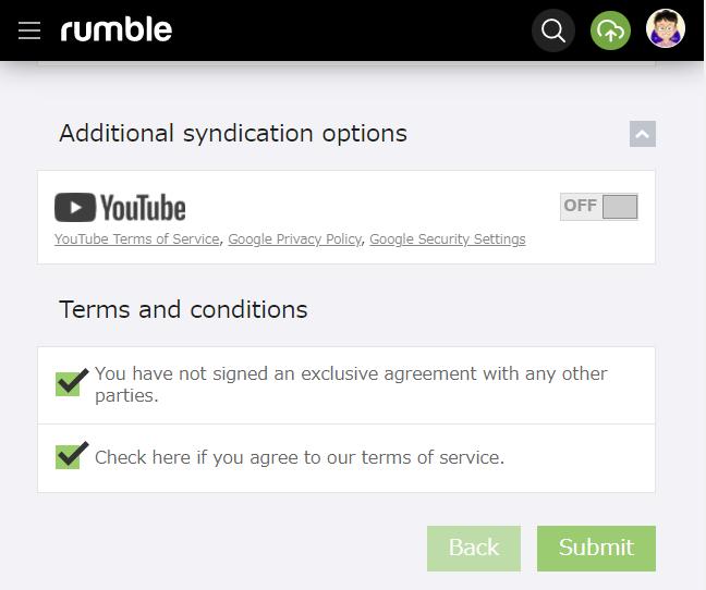 Rumble 動画をアップする方法 その8 他とは契約していません。 規約に同意します。
