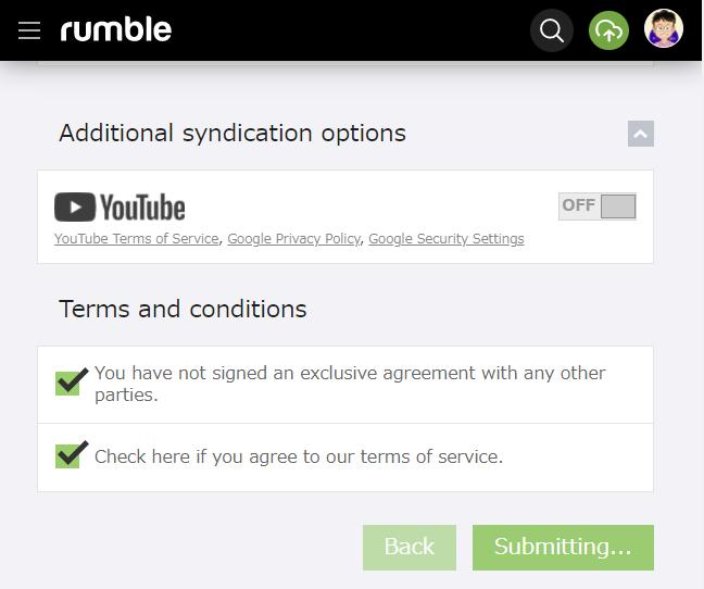 Rumble 動画をアップする方法 その9 動画を提出中