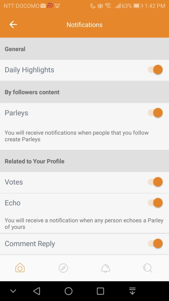 Parler Setting Preferences -4 Notifications