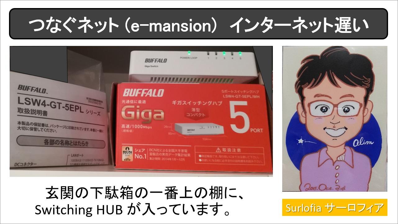つなぐネット (e-mansion) インターネット遅い 玄関の下駄箱の一番上の棚に、Switching HUB が入っています。