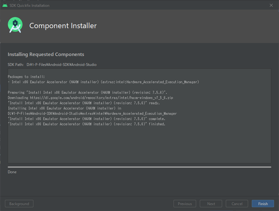 Android Studio completed to install Intel HAXM