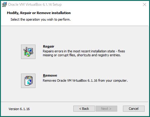 Virtual Box Repair Install