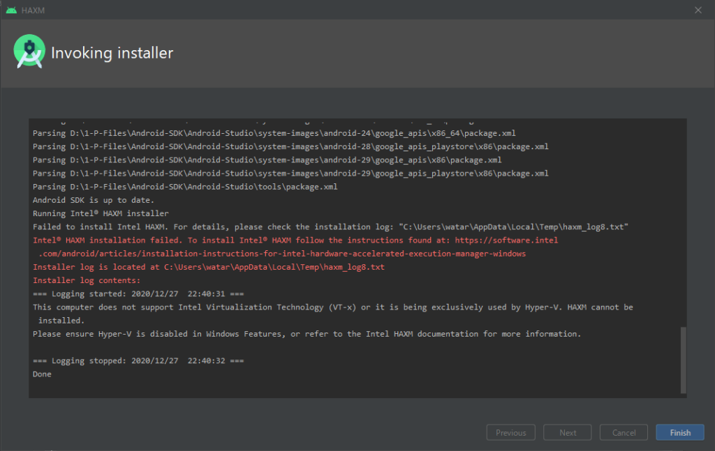 Android Studio Failed to install Intel HAXM