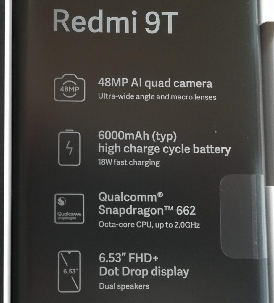 スマホ Redmi 9T 保護フィルムの文字