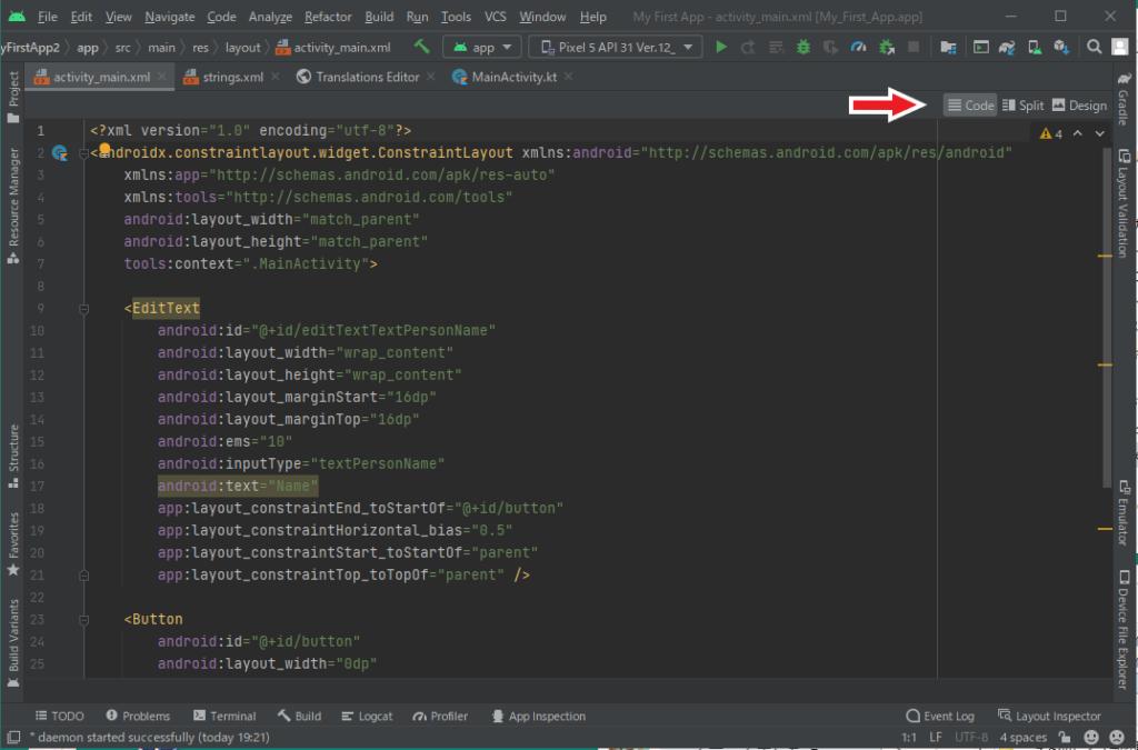 [Code] タブを選択するとコードが表示されます。